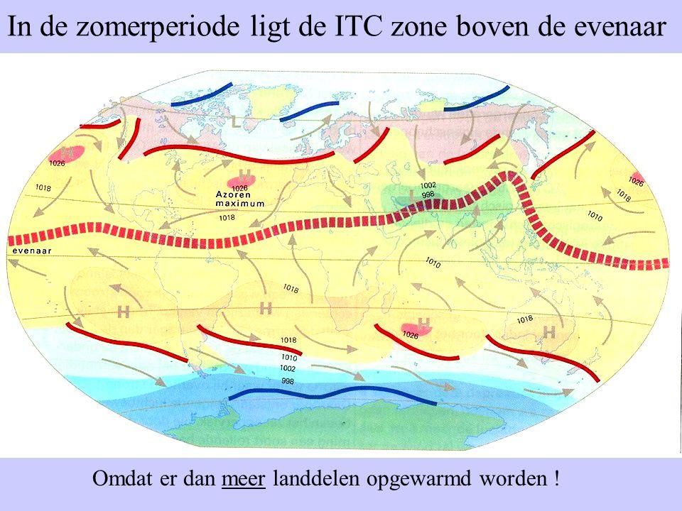 In de zomerperiode ligt de ITC zone boven de evenaar