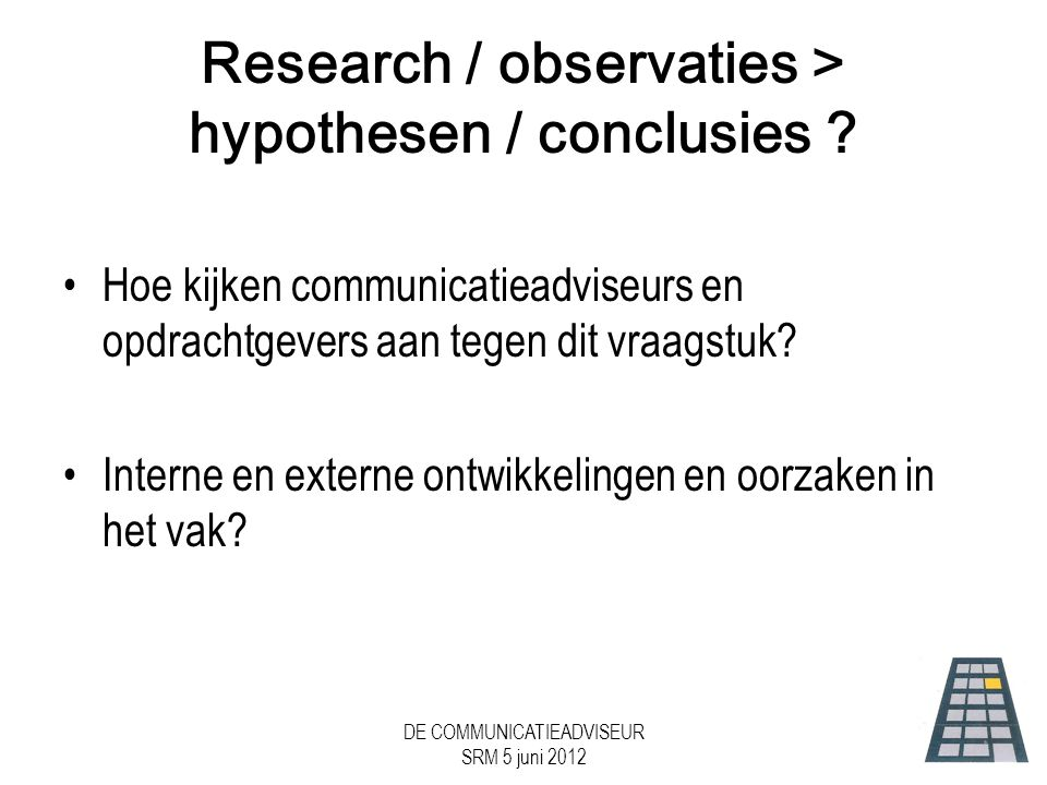 Research / observaties > hypothesen / conclusies