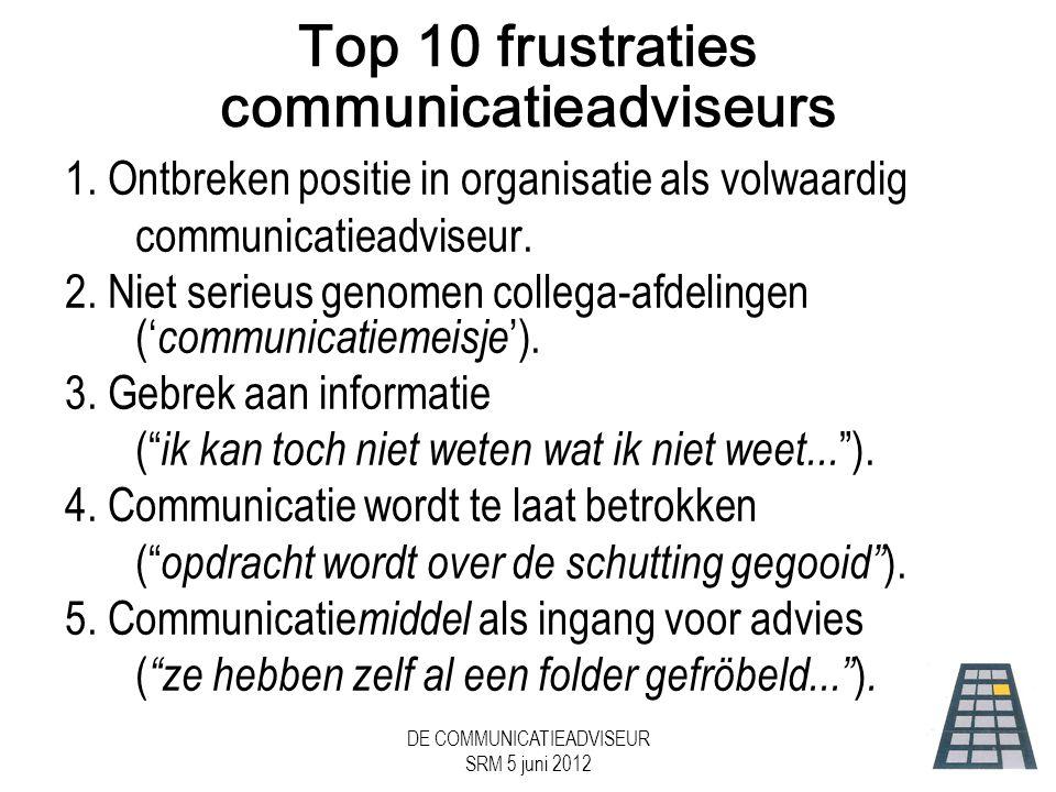 Top 10 frustraties communicatieadviseurs