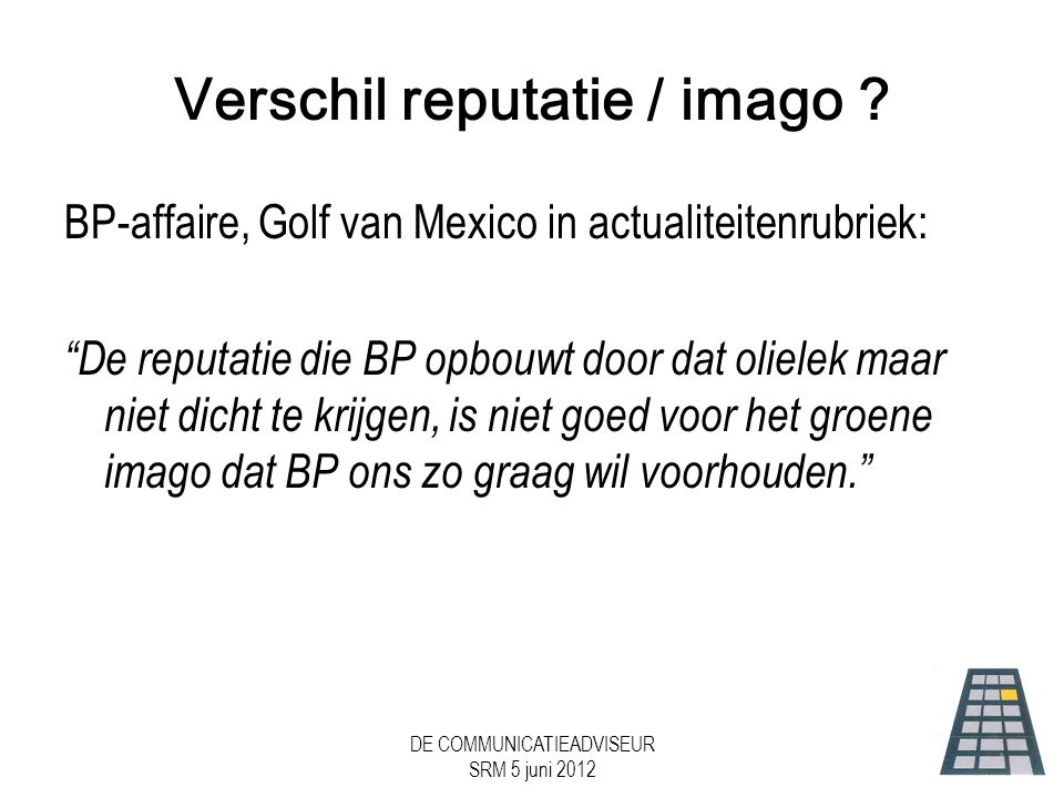 Verschil reputatie / imago