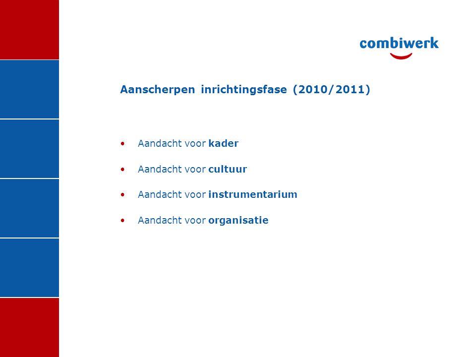 Aanscherpen inrichtingsfase (2010/2011)