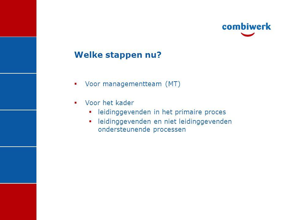 Welke stappen nu Voor managementteam (MT) Voor het kader