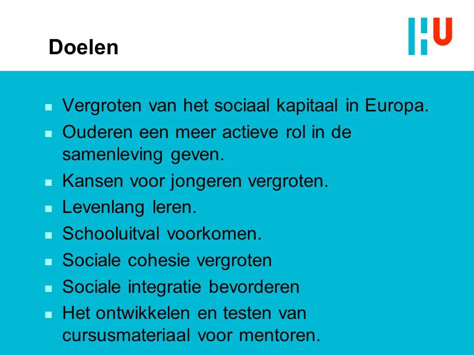 Doelen Vergroten van het sociaal kapitaal in Europa.