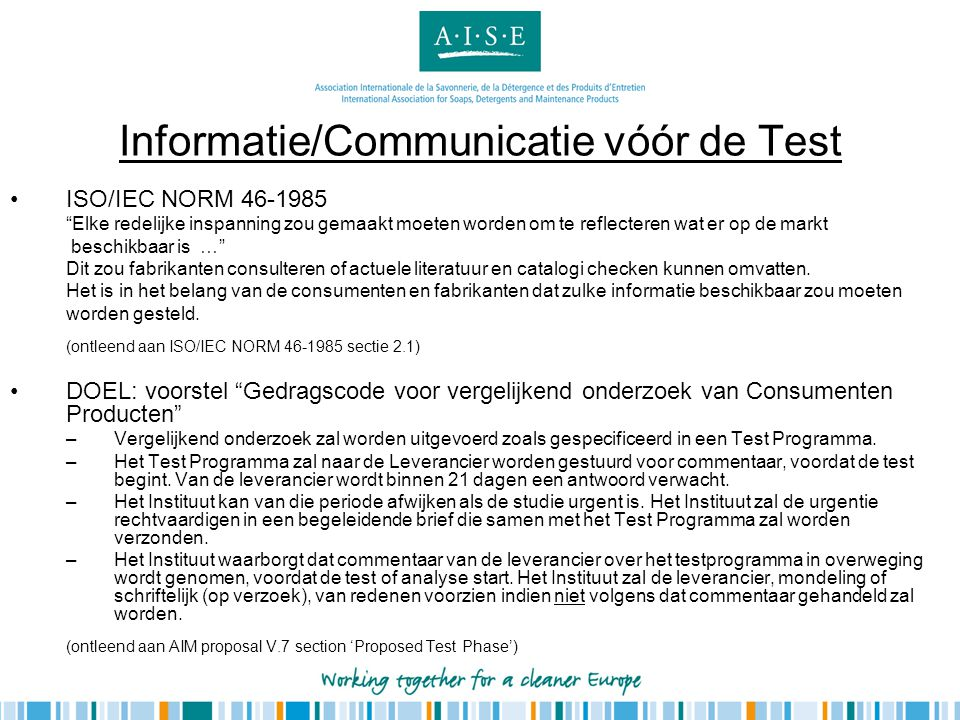 Informatie/Communicatie vóór de Test