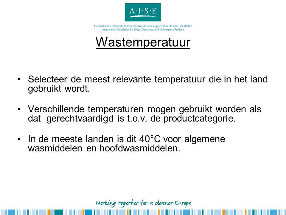 Wastemperatuur Selecteer de meest relevante temperatuur die in het land gebruikt wordt.