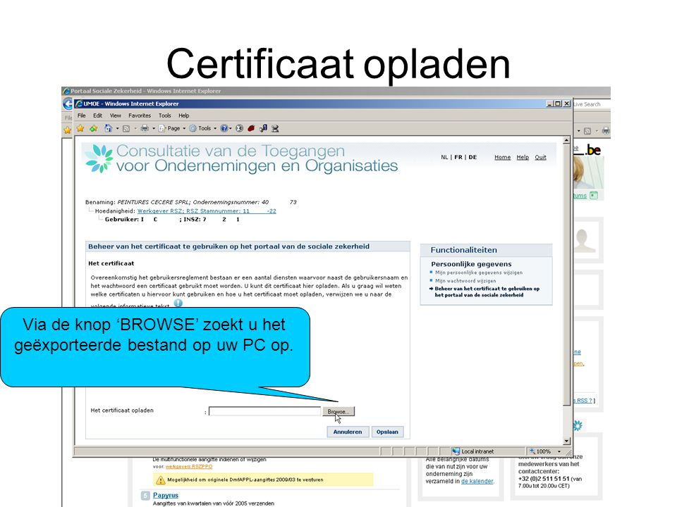 Via de knop 'BROWSE' zoekt u het geëxporteerde bestand op uw PC op.