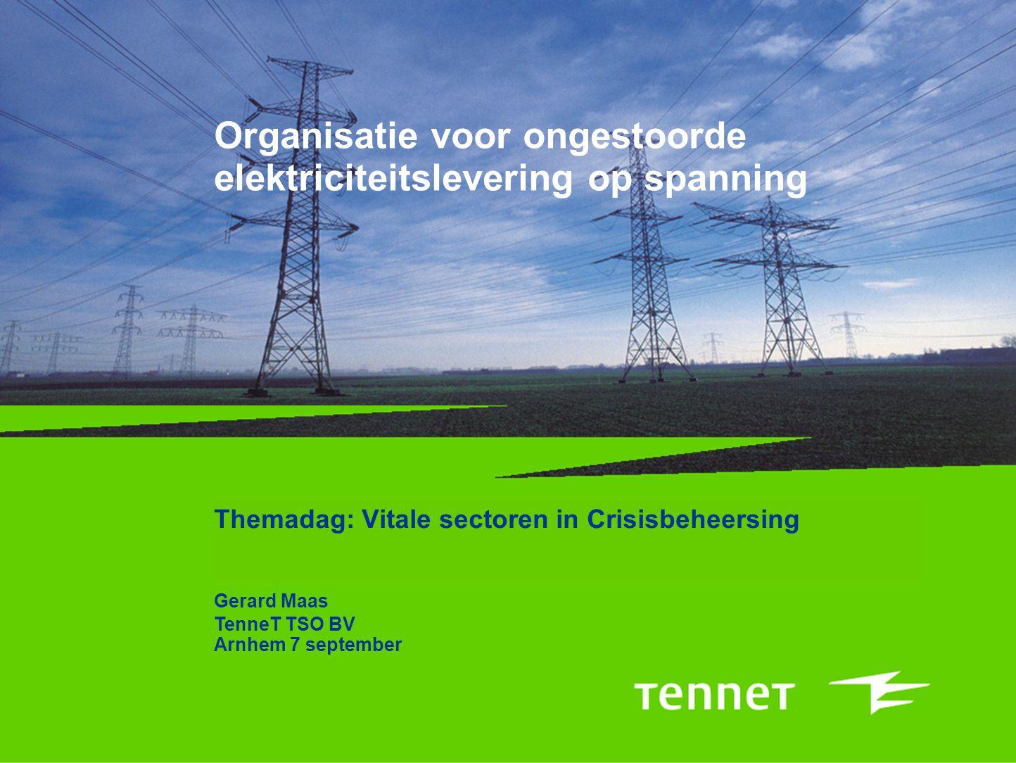 Organisatie voor ongestoorde elektriciteitslevering op spanning