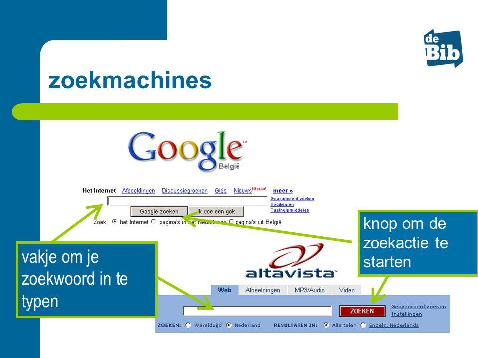 zoekmachines vakje om je zoekwoord in te typen