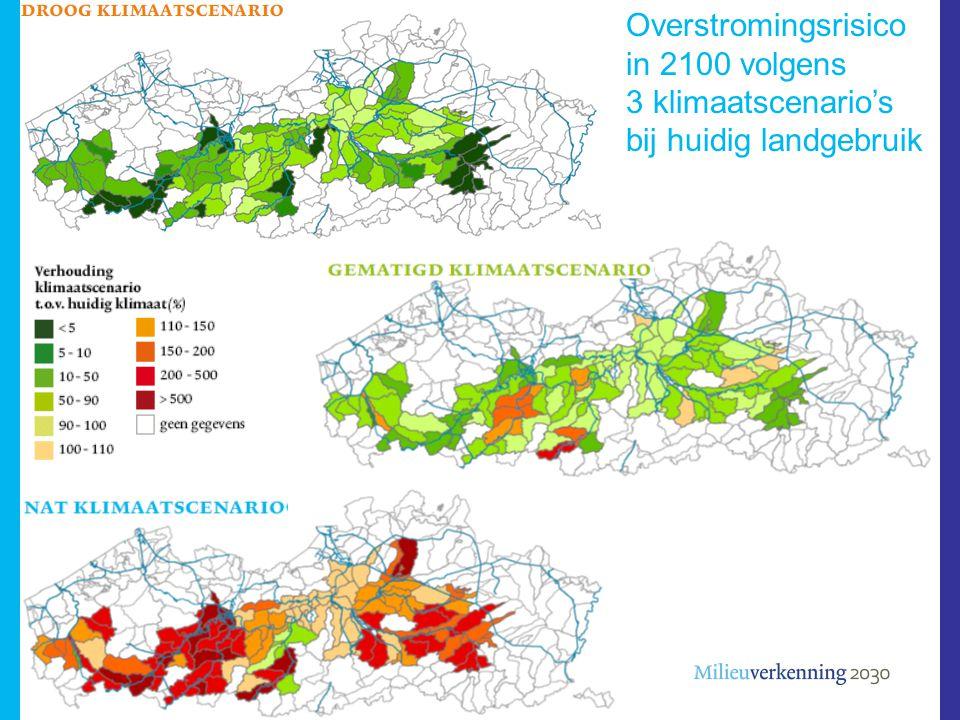 Overstromingsrisico in 2100 volgens 3 klimaatscenario's bij huidig landgebruik