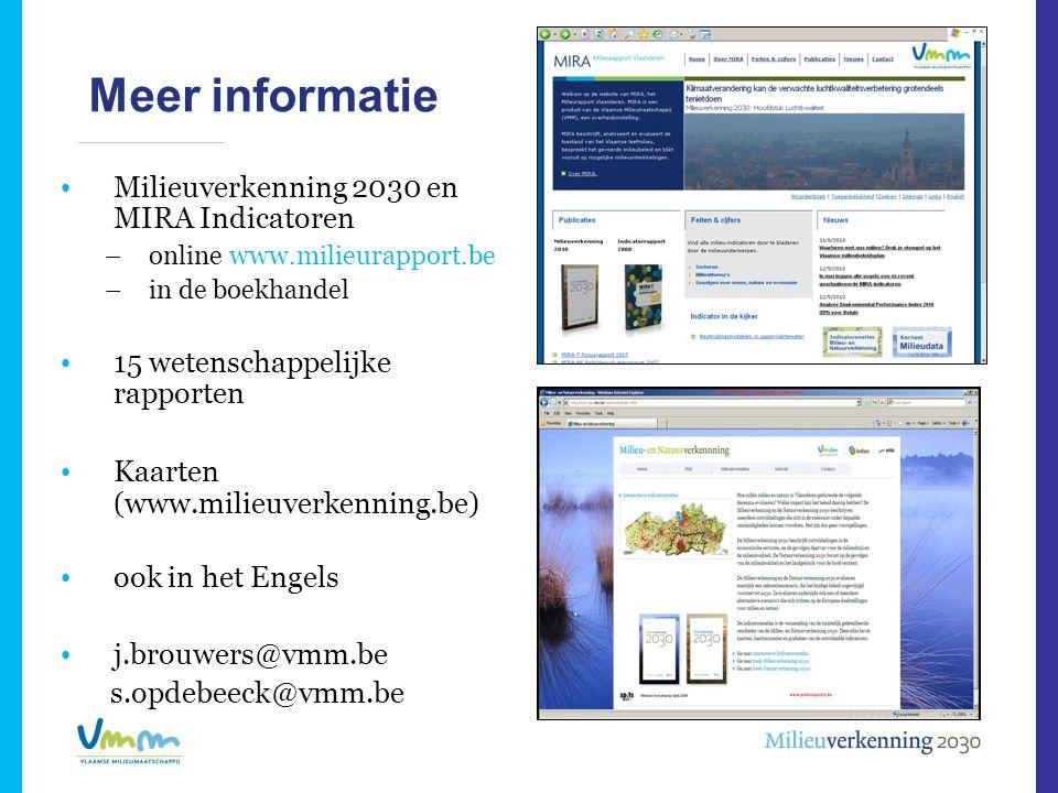 Meer informatie Milieuverkenning 2030 en MIRA Indicatoren
