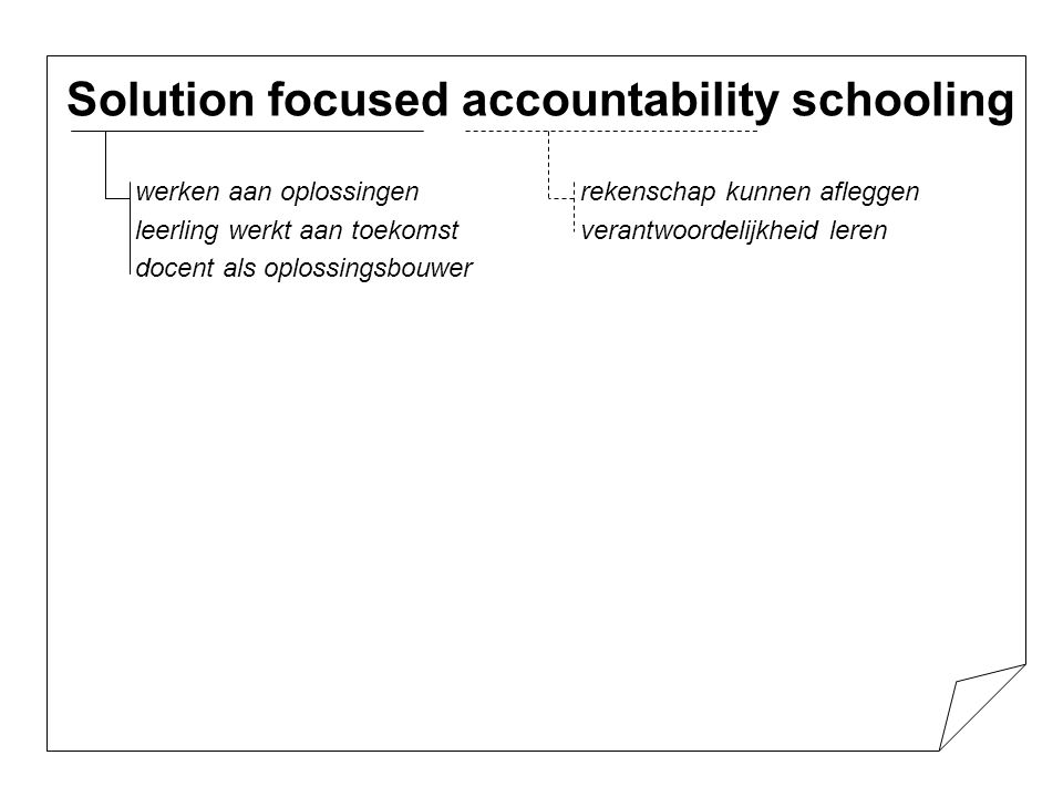 Solution focused accountability schooling