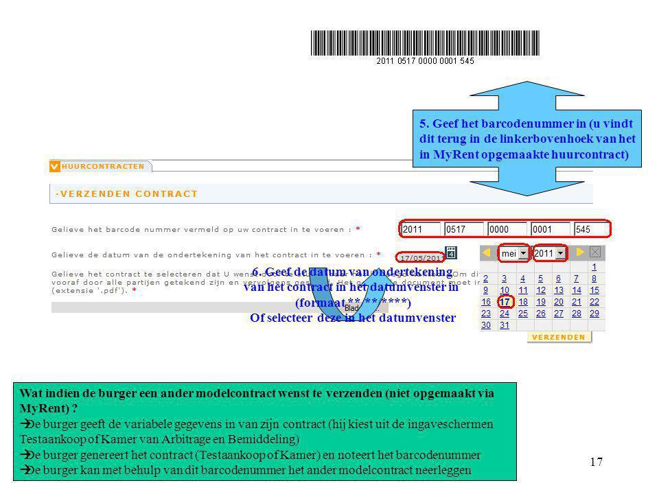 5. Geef het barcodenummer in (u vindt
