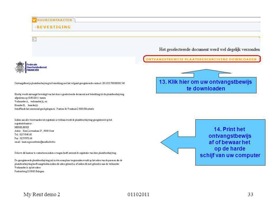 13. Klik hier om uw ontvangstbewijs