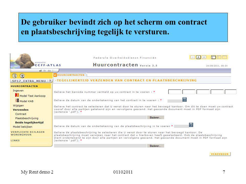 De gebruiker bevindt zich op het scherm om contract