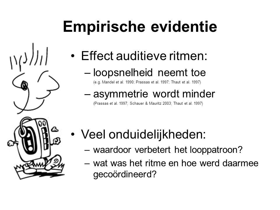 Empirische evidentie Effect auditieve ritmen: Veel onduidelijkheden: