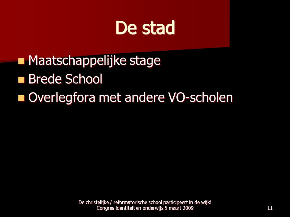 De stad Maatschappelijke stage Brede School