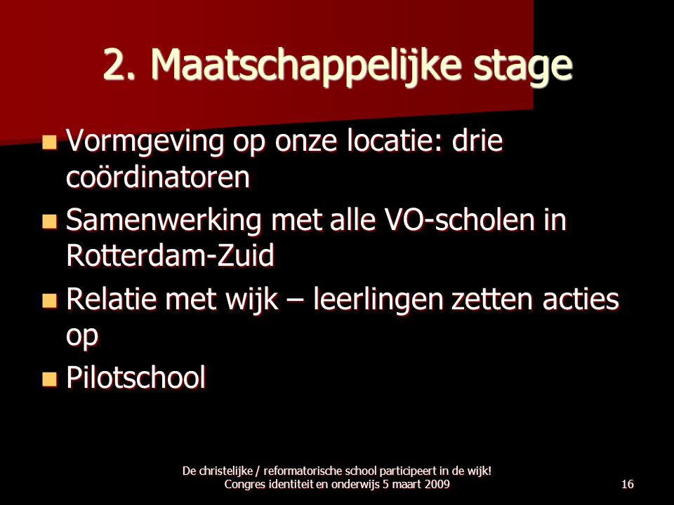 2. Maatschappelijke stage