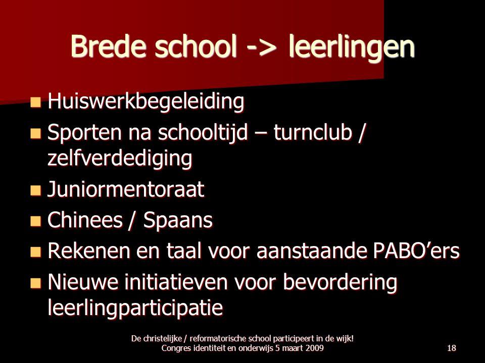 Brede school -> leerlingen