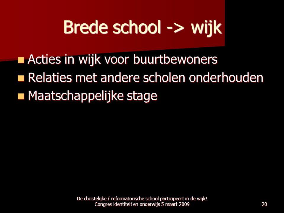 Brede school -> wijk