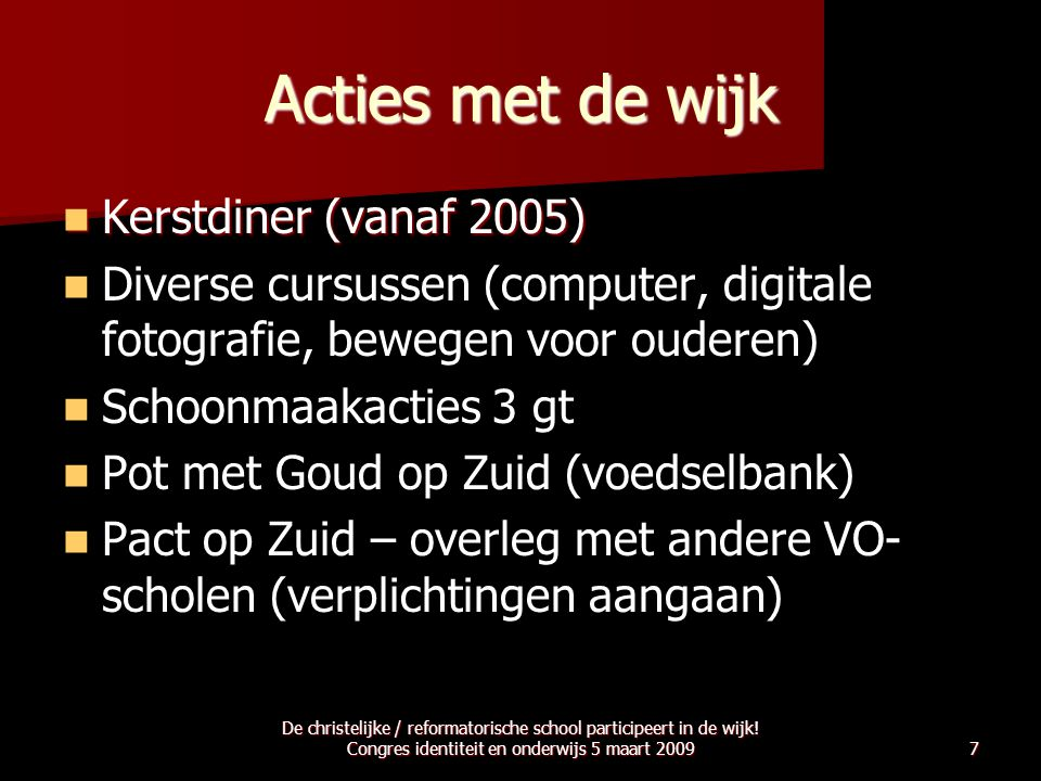 Acties met de wijk Kerstdiner (vanaf 2005)