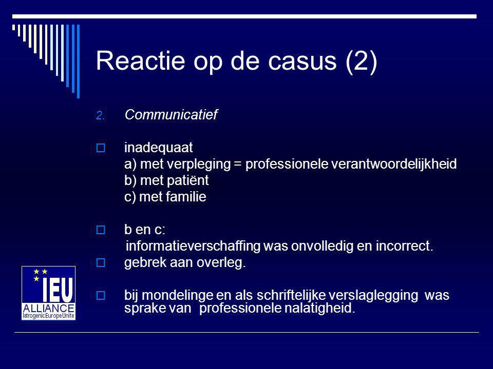 Reactie op de casus (2) Communicatief inadequaat