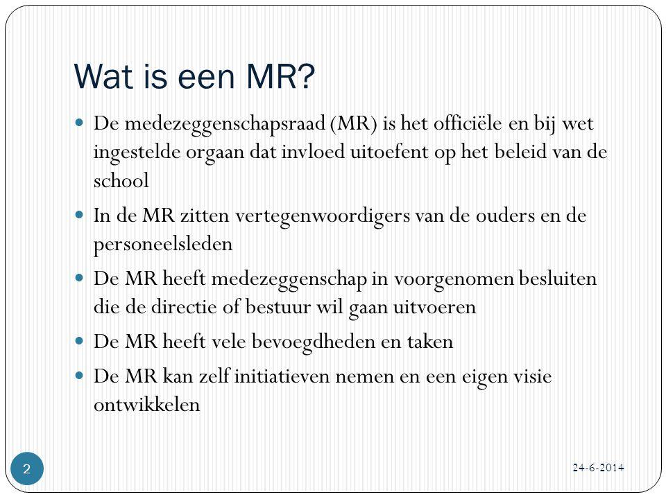 Wat is een MR De medezeggenschapsraad (MR) is het officiële en bij wet ingestelde orgaan dat invloed uitoefent op het beleid van de school.
