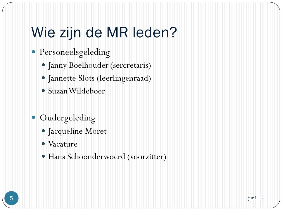 Wie zijn de MR leden Personeelsgeleding Oudergeleding