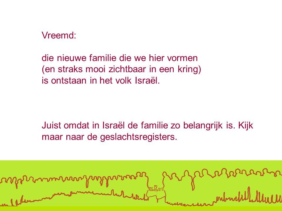 Vreemd: die nieuwe familie die we hier vormen. (en straks mooi zichtbaar in een kring) is ontstaan in het volk Israël.