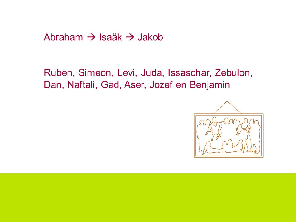 Abraham  Isaäk  Jakob Ruben, Simeon, Levi, Juda, Issaschar, Zebulon, Dan, Naftali, Gad, Aser, Jozef en Benjamin.