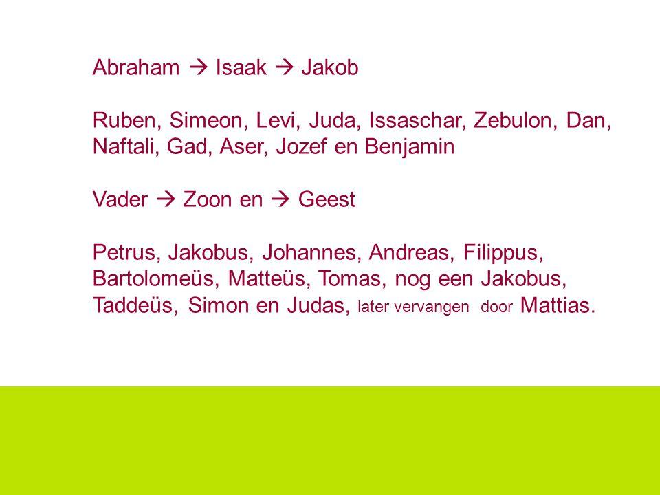 Abraham  Isaak  Jakob Ruben, Simeon, Levi, Juda, Issaschar, Zebulon, Dan, Naftali, Gad, Aser, Jozef en Benjamin.