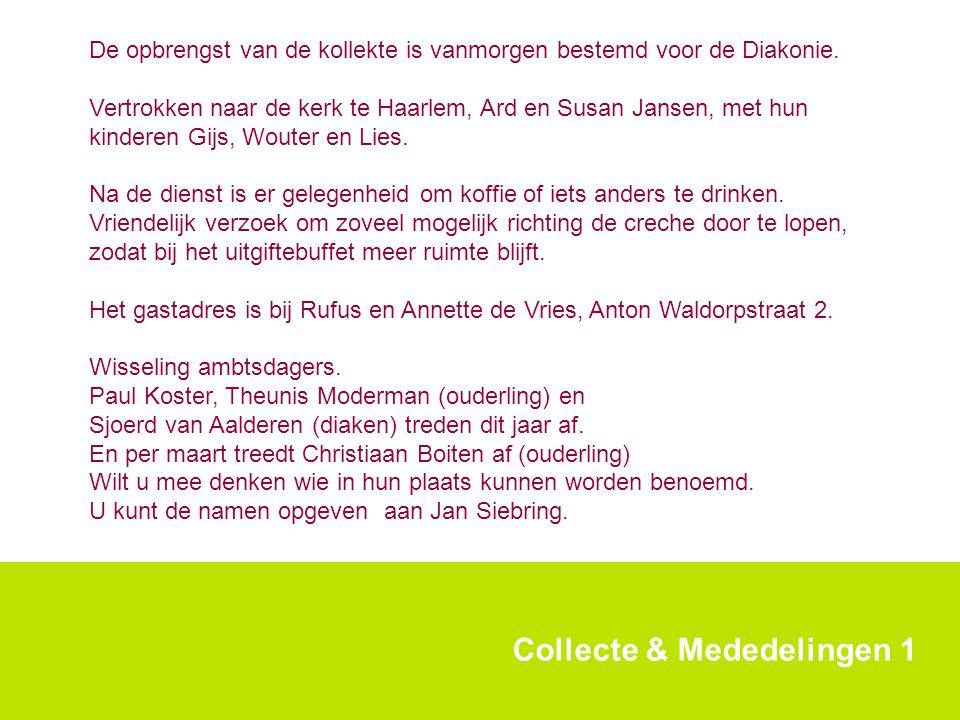 Collecte & Mededelingen 1