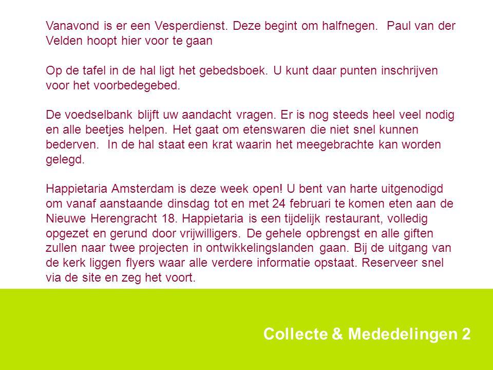 Collecte & Mededelingen 2