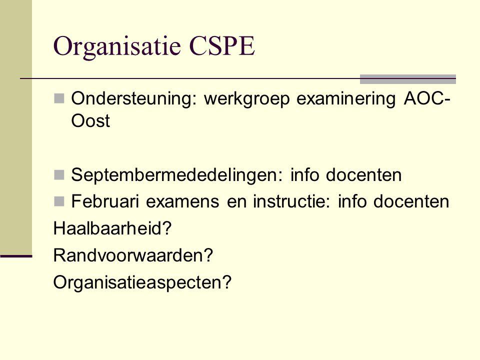 Organisatie CSPE Ondersteuning: werkgroep examinering AOC-Oost