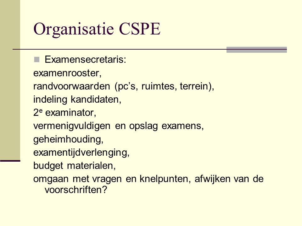 Organisatie CSPE Examensecretaris: examenrooster,