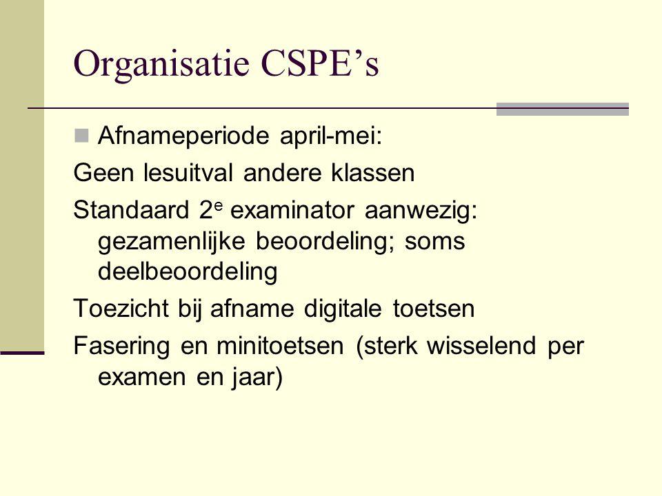 Organisatie CSPE's Afnameperiode april-mei: