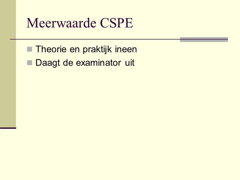 Meerwaarde CSPE Theorie en praktijk ineen Daagt de examinator uit