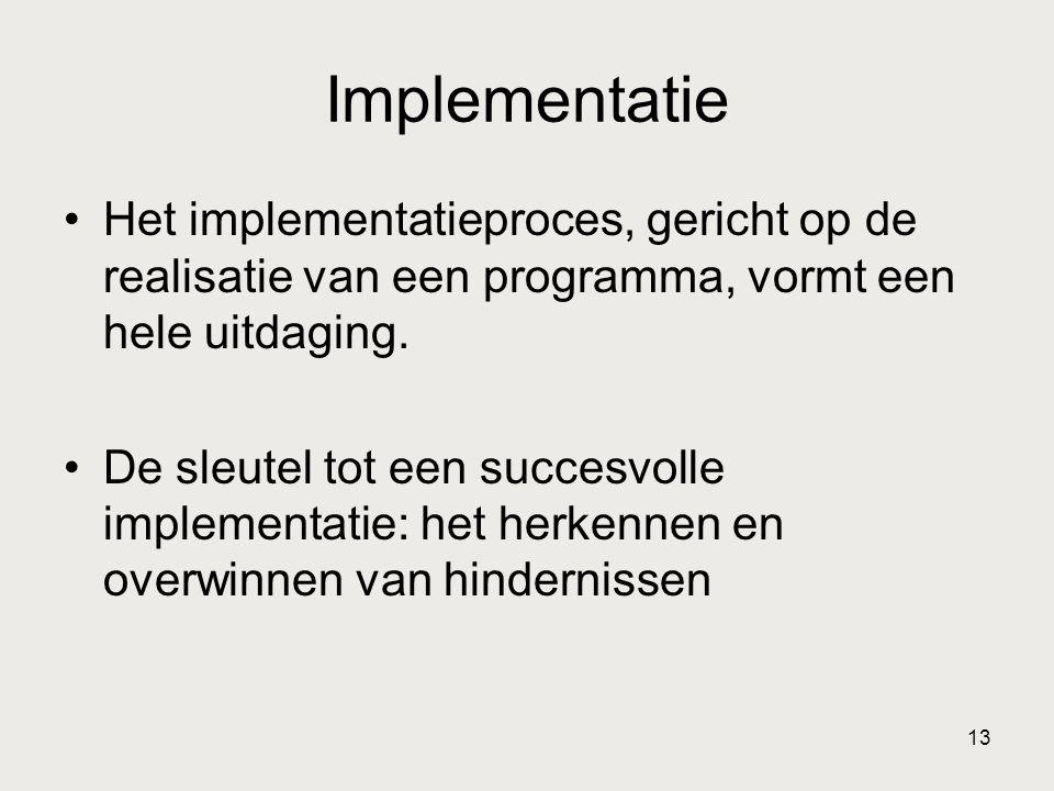 Implementatie Het implementatieproces, gericht op de realisatie van een programma, vormt een hele uitdaging.