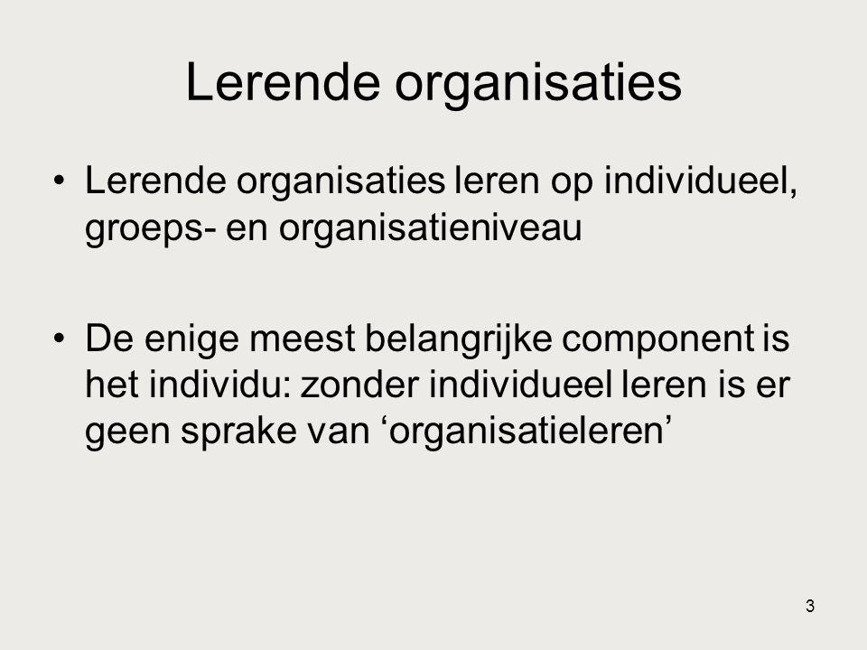 Lerende organisaties Lerende organisaties leren op individueel, groeps- en organisatieniveau.
