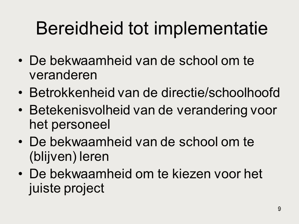 Bereidheid tot implementatie