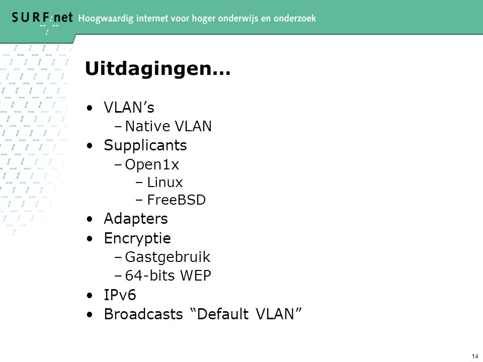 Uitdagingen… VLAN's Supplicants Adapters Encryptie IPv6