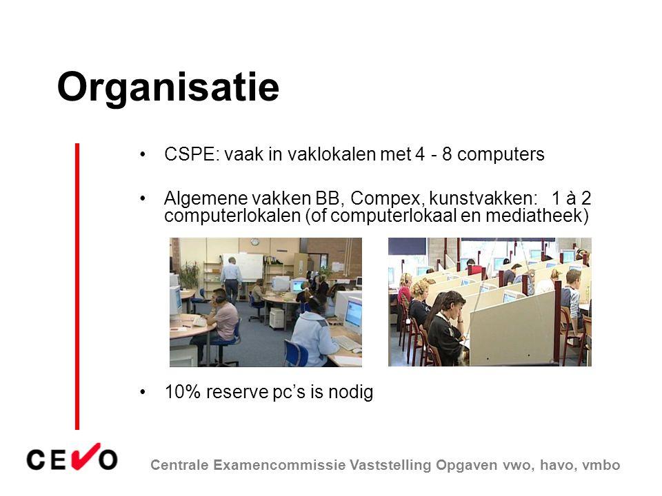 Organisatie CSPE: vaak in vaklokalen met 4 - 8 computers