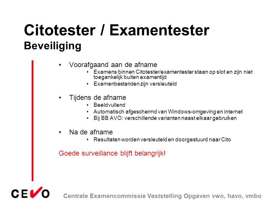 Citotester / Examentester Beveiliging
