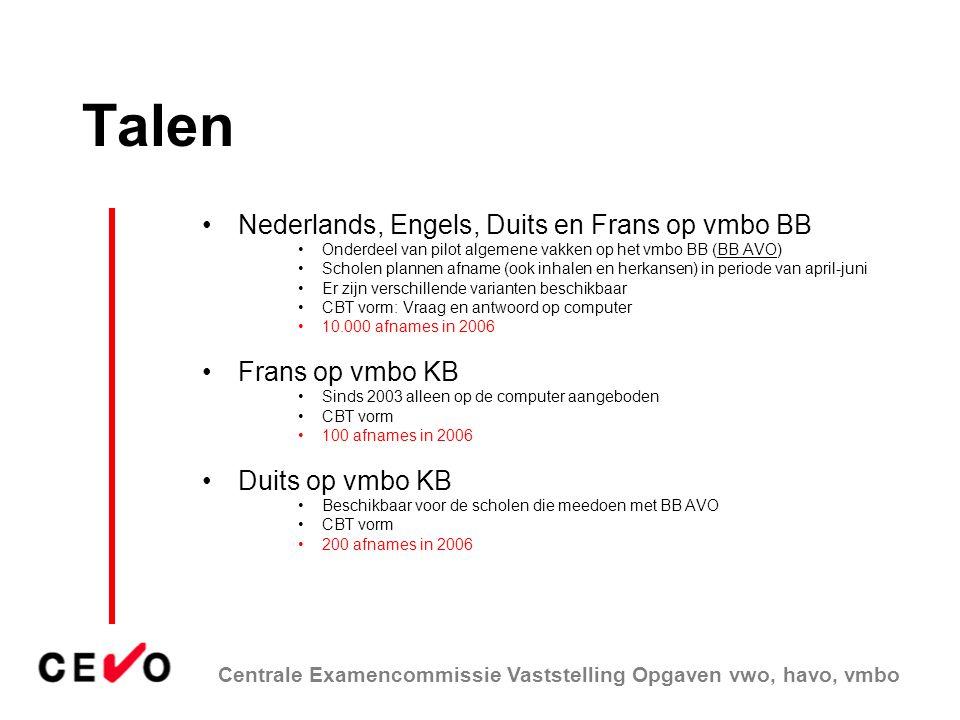 Talen Nederlands, Engels, Duits en Frans op vmbo BB Frans op vmbo KB