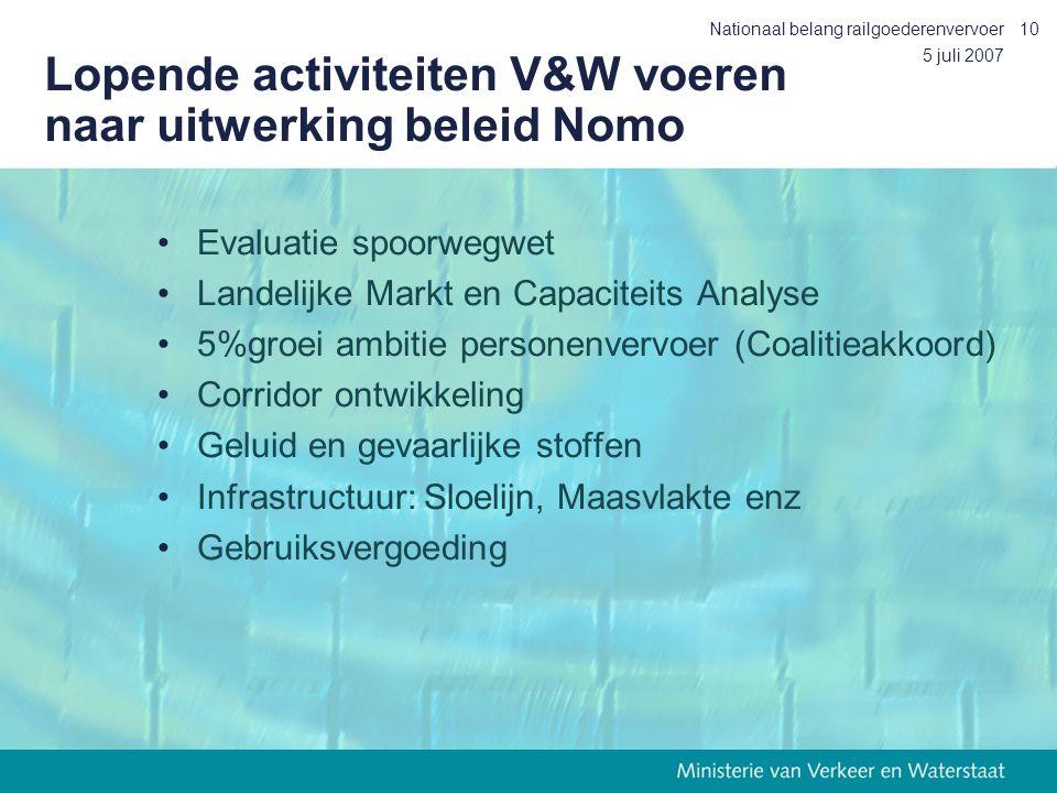 Lopende activiteiten V&W voeren naar uitwerking beleid Nomo