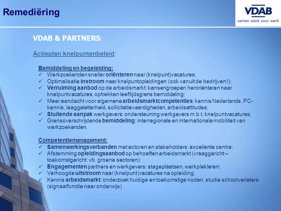 Remediëring VDAB & PARTNERS: Actieplan knelpuntenbeleid: