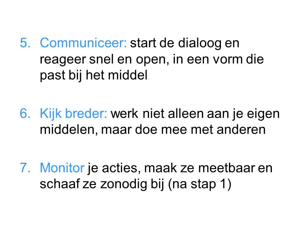 Communiceer: start de dialoog en reageer snel en open, in een vorm die past bij het middel