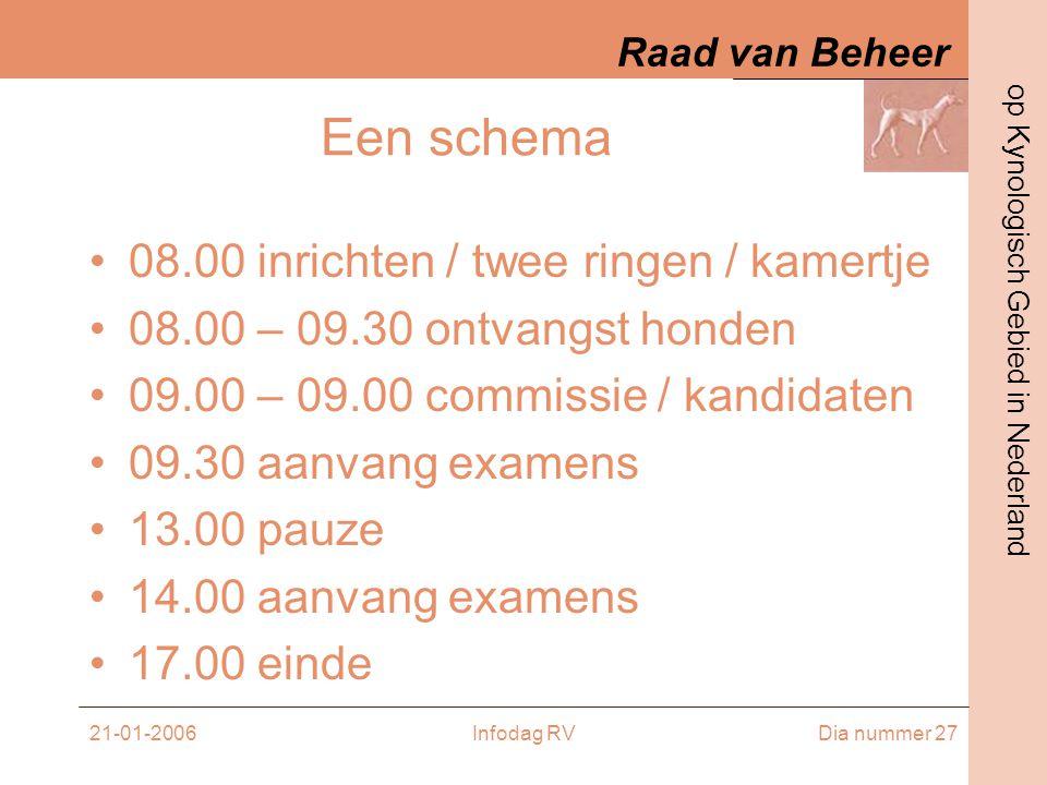 Een schema 08.00 inrichten / twee ringen / kamertje