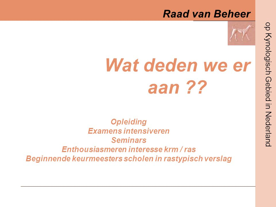 Wat deden we er aan Opleiding Examens intensiveren Seminars