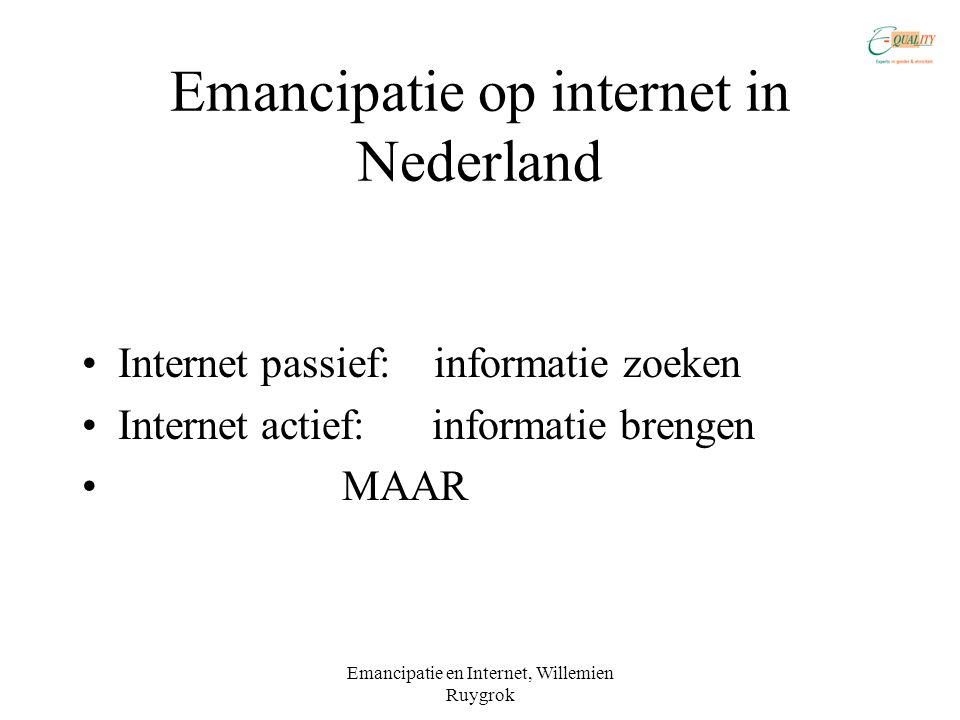 Emancipatie op internet in Nederland
