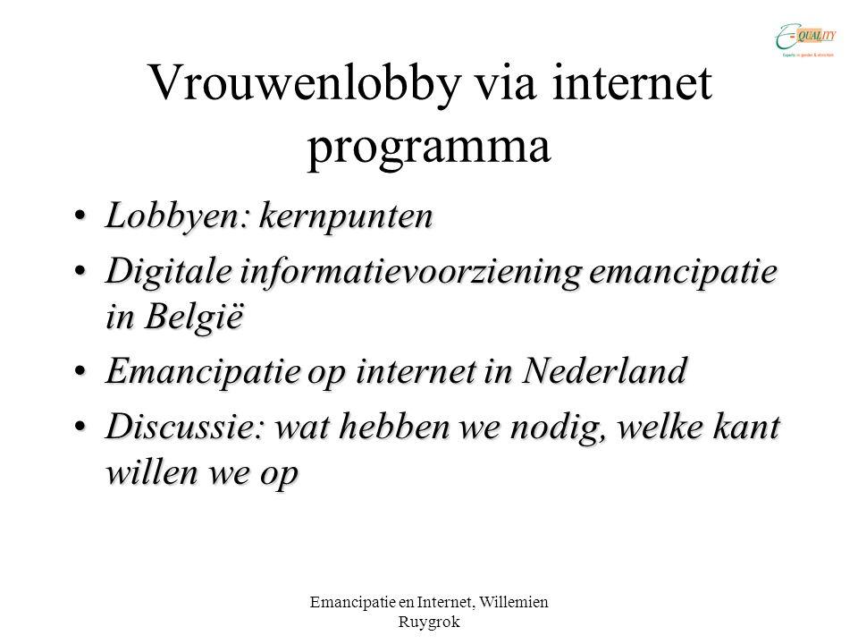 Vrouwenlobby via internet programma